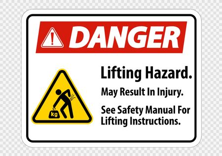 Lifting Hazard,May Result In Injury, See Safety Manual For Lifting Instructions Symbol Sign Isolate on transparent Background,Vector Illustration