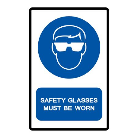 Safety Glasses Must Be Worn Symbol Sign Isolate on White Background,Vector Illustration 向量圖像