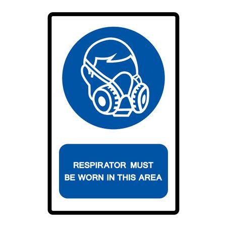 Respirator Must Be Worn In This Area Symbol Sign Isolate on White Background,Vector Illustration