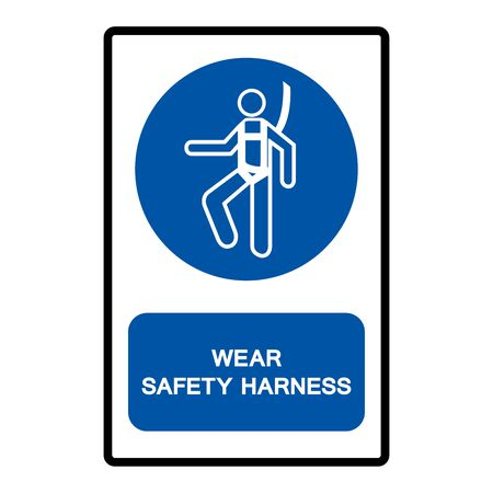 Wear Safety Harness Symbol Sign Isolate on White Background,Vector Illustration Иллюстрация