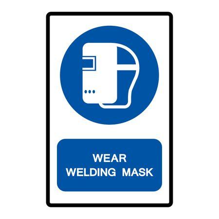 Wear Welding Mask Symbol Sign Isolate on White Background,Vector Illustration