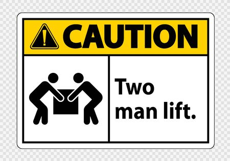 Two man lift  Symbol Sign Isolate on transparent Background,Vector Illustration