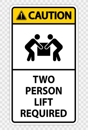 Two person lift required Symbol Sign Isolate on transparent Background,Vector Illustration  Ilustração