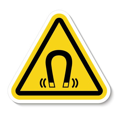 Beware Magnetic Field Symbol Sign Isolate On White Background, Vector Illustration Illustration