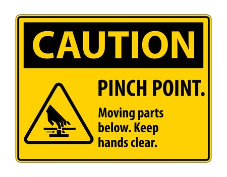 Caution Pinch Point, Moving Parts Below, Keep Hands Clear Symbol Sign Isolate on White Background,Vector Illustration EPS.10 Ilustracja