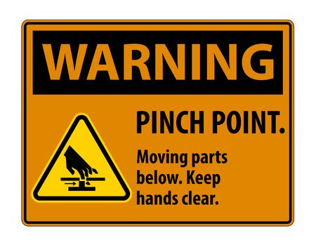 Warning Pinch Point, Moving Parts Below, Keep Hands Clear Symbol Sign Isolate on White Background,Vector Illustration EPS.10