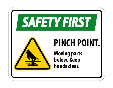 Safety Pinch Point, Moving Parts Below, Keep Hands Clear Symbol Sign Isolate on White Background, Vector Illustration