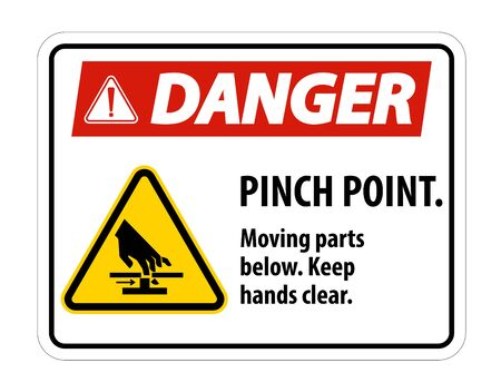Danger Pinch Point, Moving Parts Below, Keep Hands Clear Symbol Sign Isolate on White Background, Vector Illustration 일러스트