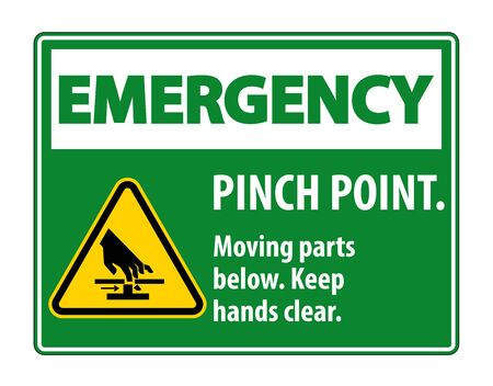 Emergency Pinch Point, Moving Parts Below, Keep Hands Clear Symbol Sign Isolate on White Background,Vector Illustration EPS.10 Иллюстрация