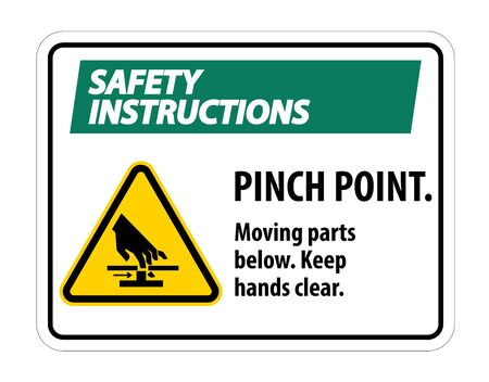 Safety Pinch Point, Moving Parts Below, Keep Hands Clear Symbol Sign Isolate on White Background,Vector Illustration EPS.10