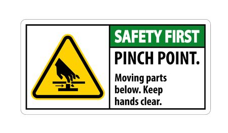 Safety Pinch Point, Moving Parts Below, Keep Hands Clear Symbol Sign Isolate on White Background,Vector Illustration EPS.10  Ilustração