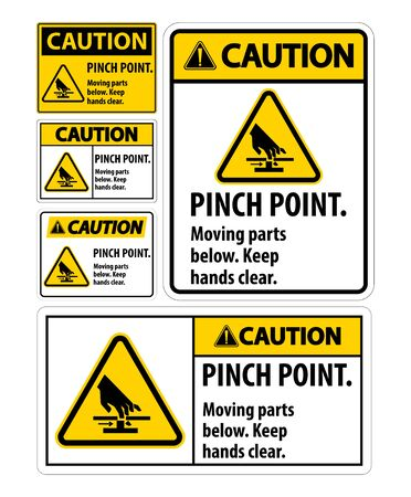 Caution Pinch Point, Moving Parts Below, Keep Hands Clear Symbol Sign Isolate on White Background,Vector Illustration EPS.10  Ilustração