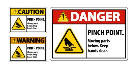 Danger Pinch Point, Moving Parts Below, Keep Hands Clear Symbol Sign Isolate on White Background,Vector Illustration EPS.10
