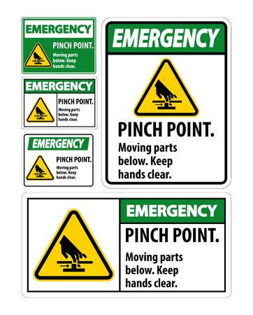 Emergency Pinch Point, Moving Parts Below, Keep Hands Clear Symbol Sign Isolate on White Background, Vector Illustration