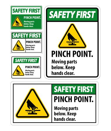 Safety Pinch Point, Moving Parts Below, Keep Hands Clear Symbol Sign Isolate on White Background,Vector Illustration EPS.10  일러스트