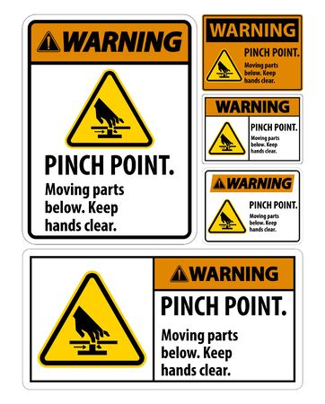 Warning Pinch Point, Moving Parts Below, Keep Hands Clear Symbol Sign Isolate on White Background, Vector Illustration Ilustração