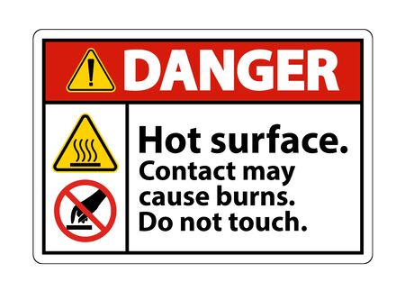 Danger Hot Surface Do Not Touch Symbol Sign Isolate on White Background, Vector Illustration