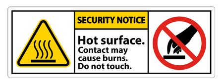 Seurity Notice Hot Surface Do Not Touch Symbol Sign Isolate on White Background,Vector Illustration