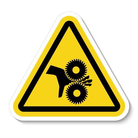 Schneiden von Fingern rotierenden Klingen Symbol Zeichen, Vektor-Illustration, isolieren auf weißem Hintergrund Etikett .EPS10