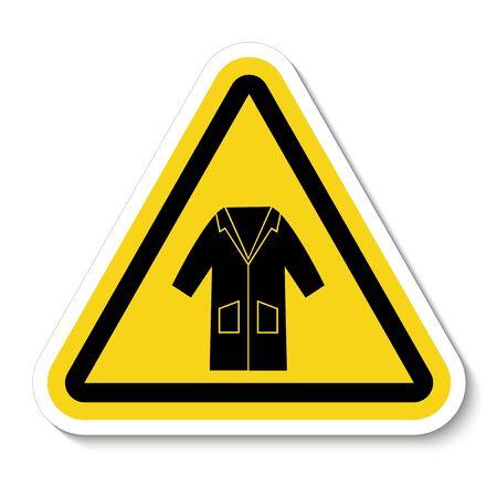 PSA-Symbol. Tragen Sie Kittel-Symbol-Zeichen-Isolat auf weißem Hintergrund, Vektor-Illustration Vektorgrafik