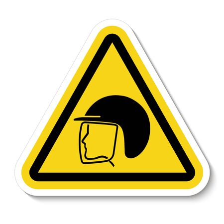 Wear Safety Helmet Symbol Isolated On White Background, Vector Illustration Stock Illustratie