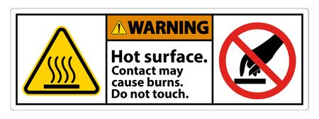 Warning Hot Surface Do Not Touch Symbol Sign Isolate on White Background,Vector Illustration