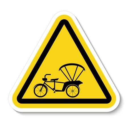 Beware Tricycle Symbol Sign Isolate On White Background, Vector Illustration