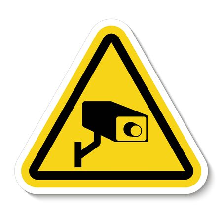 Segno di simbolo della telecamera di sicurezza CCTV, illustrazione vettoriale, isolato su sfondo bianco Label Vettoriali