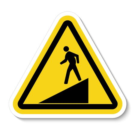 Beware Slope Symbol Sign Isolate On White Background, Vector Illustration