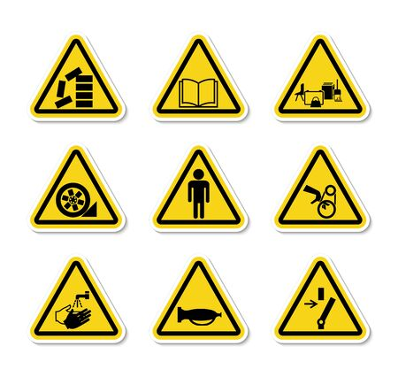Etiquetas triangulares de símbolos de peligro de advertencia signo aislar sobre fondo blanco, ilustración vectorial
