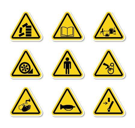 Simboli di pericolo di avvertenza triangolare etichette segno isolato su sfondo bianco, illustrazione vettoriale