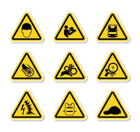Triangular Warning Hazard Symbols labels Sign Isolate on White Background,Vector Illustration Vectores