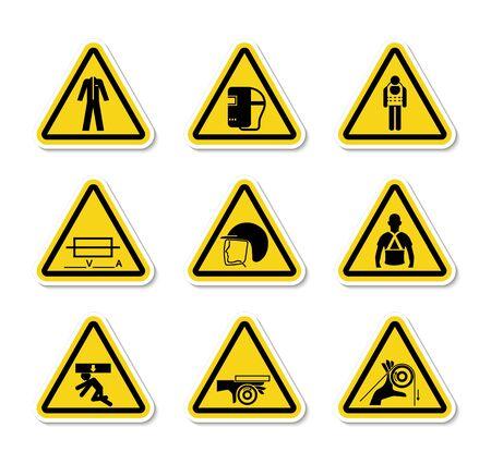 Triangular Warning Hazard Symbols labels Sign Isolate on White Background,Vector Illustration Иллюстрация