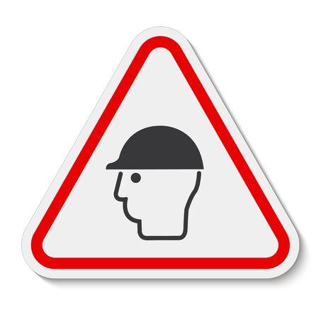 Symbol Wear Head Protection Isolate On White Background,Vector Illustration Ilustración de vector