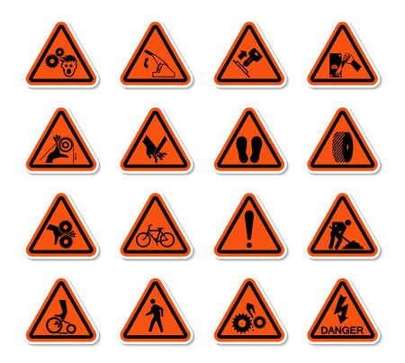 Triangular Warning Hazard Symbols labels Sign Isolate on White Background,Vector Illustration Иллюстрация