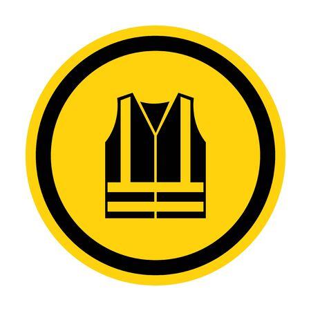 Icône d'EPI. Porter un signe de symbole de vêtements haute visibilité isoler sur fond blanc, illustration vectorielle