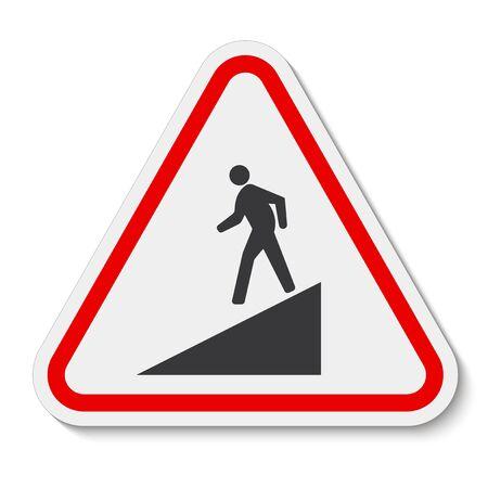 Méfiez-vous du signe de symbole de pente isoler sur fond blanc, illustration vectorielle EPS.10