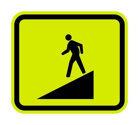 Beware Slope Symbol Sign Isolate On White Background