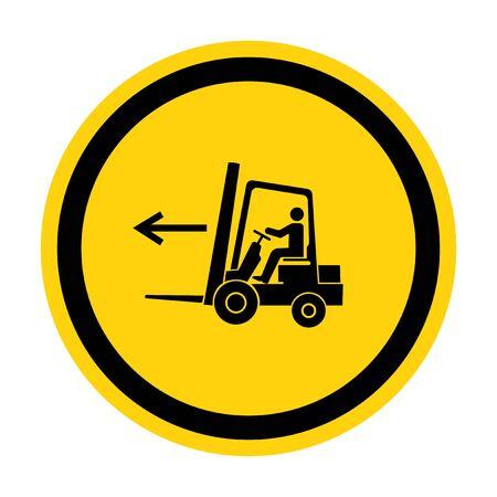 Forklift Point Left Symbol Sign Isolate On White Background,Vector Illustration