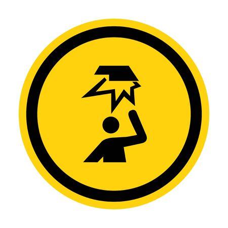 Beware Overhead Obstacles Symbol Isolate On White Background,Vector Illustration Ilustração