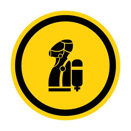 Wear SCBA (Self Contained Breathing Apparatus) Symbol Isolate On White Background,Vector Illustration
