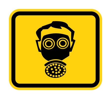 Symbol wear respirator protection Sign Isolate On White Background,Vector Illustration EPS.10  Иллюстрация