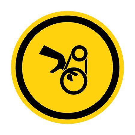 Hand Entanglement Belt Drive Symbol Sign, Vector Illustration, Isolate On White Background Label . Illustration