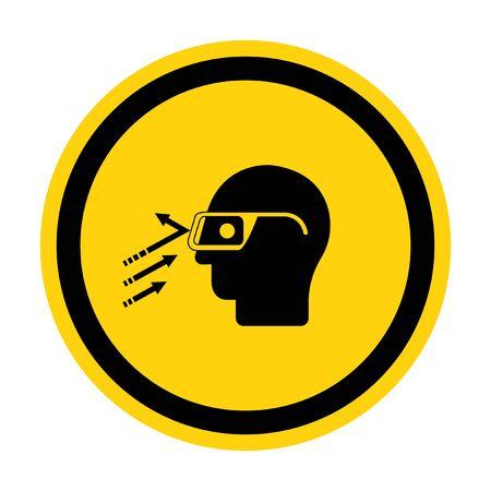 Flying Debris Wear Safety Glasses Symbol Sign Isolate on White Background, Vector Illustration