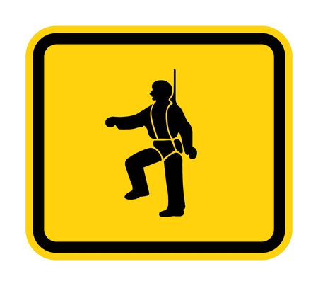 PPE Icon.Safety Harness Must Be Worn Symbols Sign Isolate On White Background, Vector Illustration