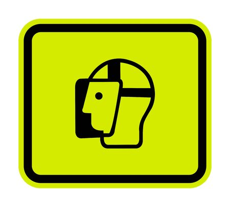 Symbol Face Shield Must Be Worn Sign Isolate On White Background, Vector Illustration Vettoriali