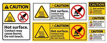 Precaución Superficie caliente No tocar Signo de símbolo Aislar sobre fondo blanco, ilustración vectorial