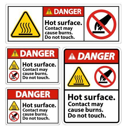 Danger Hot Surface Do Not Touch Symbol Sign Isolate on White Background,Vector Illustration Vector Illustratie