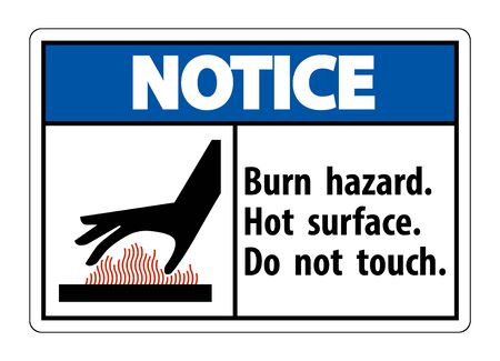Notice Burn hazard, Hot surface,Do not touch Symbol Sign Isolate on White Background, Vector Illustration Stock Illustratie