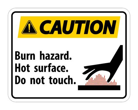 Caution Burn hazard,Hot surface,Do not touch Symbol Sign Isolate on White Background,Vector Illustration  Stock Illustratie